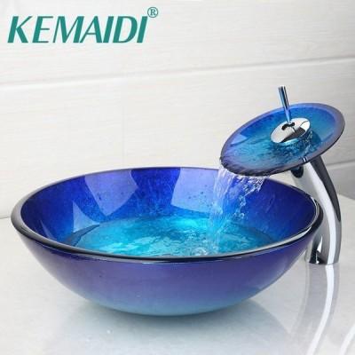 洗面台 洗面化粧台 ブルー 強化ガラス 丸型 楕円形 ORB つや消し 蛇口 シンク 引き出し式 シンクのセット