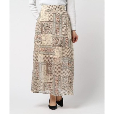 スカート シフォンパネル風 フレア ロングスカート
