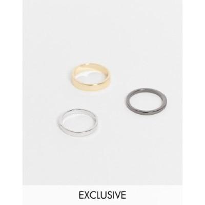 デザインBロンドン DesignB London メンズ 指輪・リング 3点セット ジュエリー・アクセサリー Designb mix metal 3 pack rings in multi