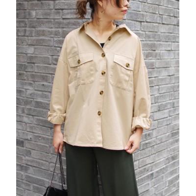 【フィズ】 ツイルポケット付きオーバーシャツ mitis SS レディース アイボリー M Fizz