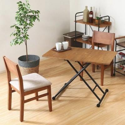 昇降式テーブル おしゃれ 幅100×奥行55×高さ14〜72cm ブラウン