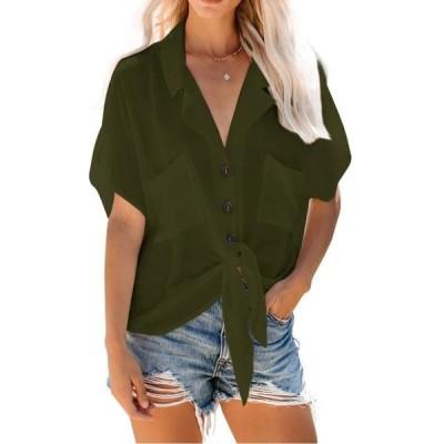 レディース 衣類 トップス Turn Down Collar Women Front Knot Solid Single Breasted Blouse With Pocket ブラウス&シャツ
