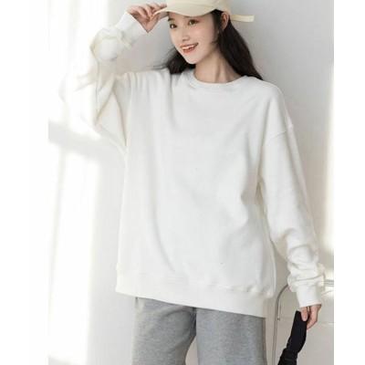 (shoppinggo/ショッピングゴー)Tシャツ ロンT 長袖Tシャツ メンズ レディース 無地 ロングTシャツ 大きいサイズ/レディース ホワイト