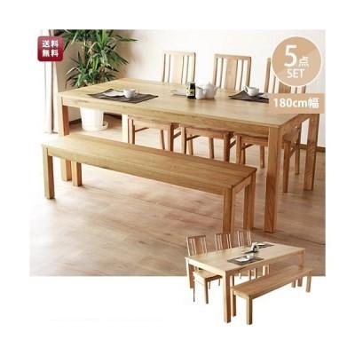 モビレックス 6人用 オーク無垢材 テーブル  チェア ベンチ 5点セット  NA