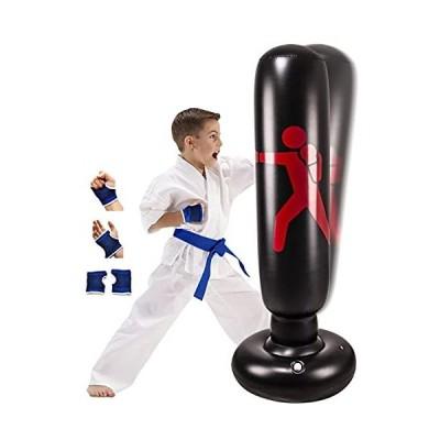インフレタブルキッズパンチングバッグ スタンド付き キックボクシング 自立式パンチングバッグ 子供&大人用 63インチ ポタブル 加重ボクシング パン