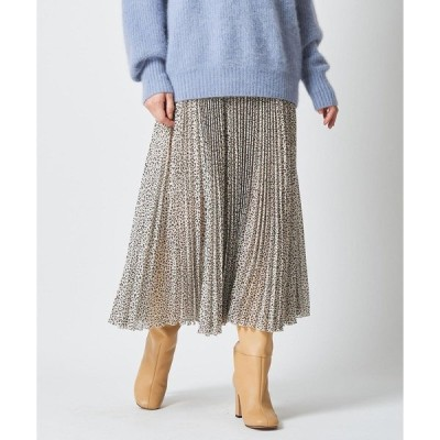 スカート レオパードプリーツスカート