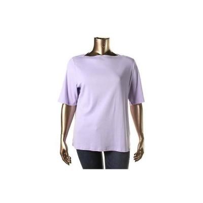 トップス ブラウス チャータークラブ Charter Club 5603 レディース Boatneck Elbow スリーブs Solid Tシャツ Top Plus