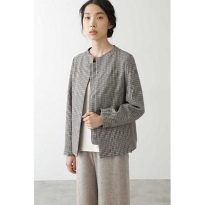 HUMAN WOMAN/ヒューマンウーマン ◆≪Japan Couture≫無染色ウールブルゾン ブラウンチェック3 L