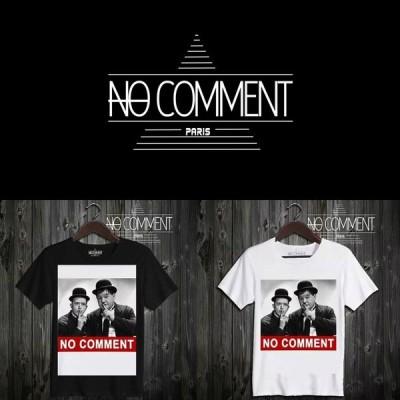 NO COMMENT PARIS ノーコメントパリ 半袖 Tシャツ ブラック ホワイト ラウンドネック Vネック メンズ レディース ローレル・アンド・ハーディ laurel-and-hardy-