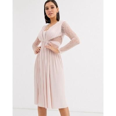 エイソス レディース ワンピース トップス ASOS DESIGN lace and pleat long sleeve midi dress