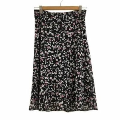 【中古】リフレクト Reflect スカート フレア ひざ丈 総柄 40 黒 白 ブラック ホワイト レディース