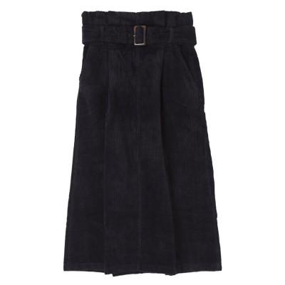 ユアーズ ur's コーデュロイハイウエストナロースカート (ブラック)