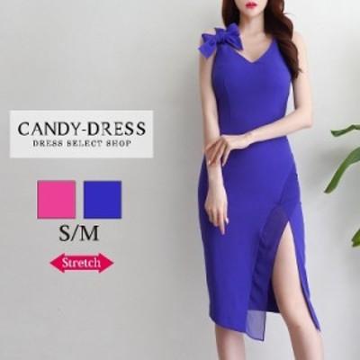 【予約】S/M 送料無料 Luxury Dress ストレッチ無地×肩リボンデザインサイドスリットノースリーブタイトミディドレス SN200607 韓国ドレ
