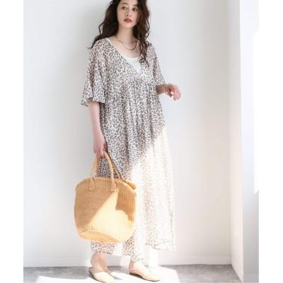 レディース ボイスフロムベイクルーズ 【enrica / エンリカ】CtnSilk LEOPARD 2Way DRESS ブラウン フリー