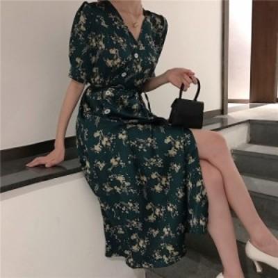 レディースファッション 女性の新しい2019夏ヴィンテージプリントドレス女性半袖包帯Vネックホリデードレス  Women New 2019 Summe