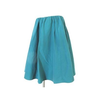 【中古】ミミ&ロジャー mimi&roger スカート 膝丈 フレア タック コットン 緑 グリーン 38 ボトムス レディース 【ベクトル 古着】