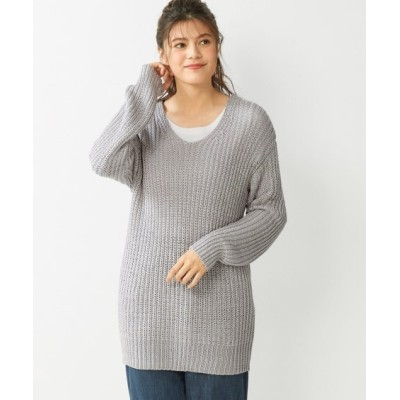 【大きいサイズ】 ざっくりゆるシルエットプルオーバー (大きいサイズレディース、ニット・セーター)plus size sweater, テレワーク, 在宅, リモート