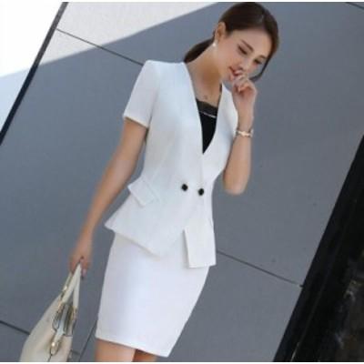 セレモニースーツ 大きいサイズ スカートスーツ ビジネス フォーマル レディーススーツ オフィス OL通勤 就活 シンプル