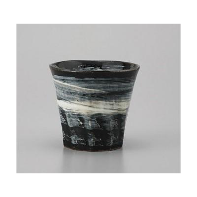 ロックカップ 黒釉刷毛目焼酎カップ [9 x 8.2cm] 土物 料亭 旅館 和食器 飲食店 業務用