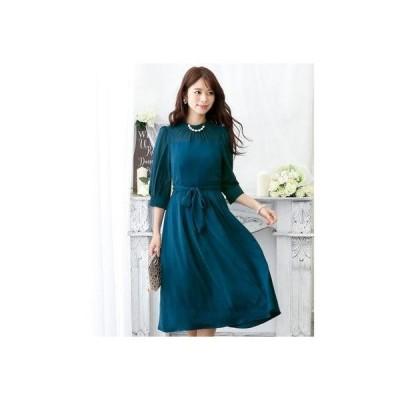 プールヴー PourVous クラシカルリボンロングスカートドレス・ ロングスカート/結婚式ワンピース お呼ばれ・二次会・セレモニー大きいサイズ対応フ