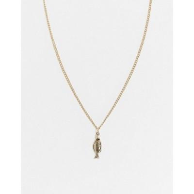 アイコンブランド メンズ ネックレス・チョーカー アクセサリー Icon Brand neckchain in gold with fish pendant