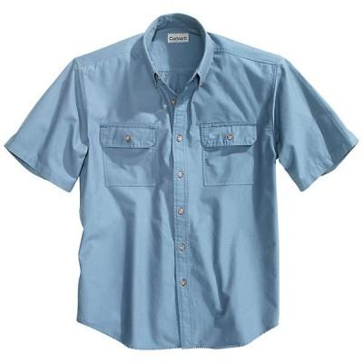 カーハート シャツ メンズ トップス Carhartt Men's Fort Solid SS Shirt Denim Blue Chambray