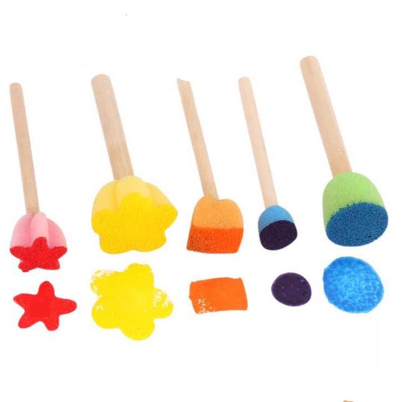 彩色迷你花型海绵木棍印章(5入) 海綿印章 幼兒繪畫教具教材【JC3183】《Jami》