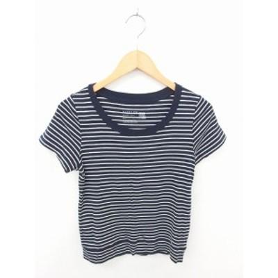 【中古】ベイフロー BAYFLOW カットソー Tシャツ ボーダー 丸首 綿 コットン 半袖 2 紺 白 ネイビー ホワイト /TT36