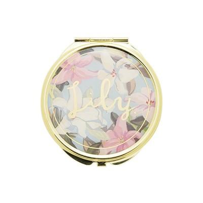 手鏡 ミラー 拡大鏡 キラキラ プレゼント コンパクトミラー フラワーパターン GMR0075-GR グリーン 雑貨 おしゃれ かわいい