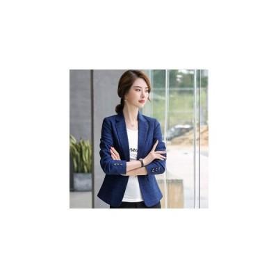 レディース テーラードジャケット 長袖 チェック柄 1つボタン アウター スーツ ジャケット 韓国風 フォーマル ブルー オフィス OL 通勤 ビジ