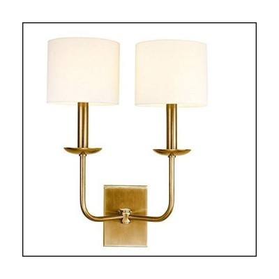 Hudson Valley Lighting 1712-AGB Kings Point - Two Light Wall Sconce, Aged Brass Finish with Off-White Faux Silk[並行輸入品]