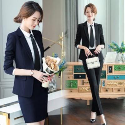 レディーススーツ ブラック ネイビー フォーマル 事務服 通勤 OL オフィス 大きいサイズ 2点セット スカートスーツ パンツスーツ