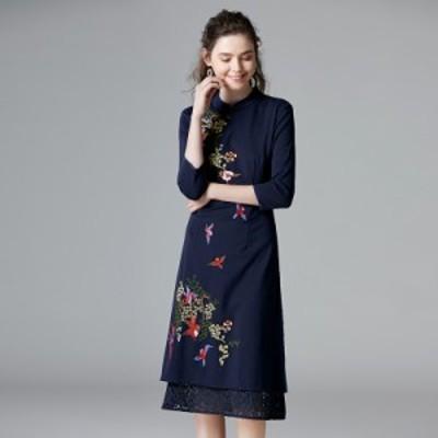 ワンピース チャイナドレス 安い 可愛い チャイナ風 ミモレ丈 7分袖 お洒落 綺麗め 2次会 パーティー ドレス レース 刺繍