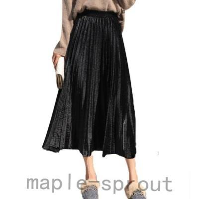 秋冬ボトムスレディースニットスカートaラインウエストゴムハイウエスト無地きれいめ大人ロングスカートプリーツファッション大人