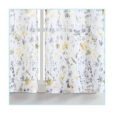 新品Fragrantex Yellow Flower Print Tier Curtains 45 inch Length Multi-Color Linen Texture, Rustic Farmhouse Style Curtains, Window Floral