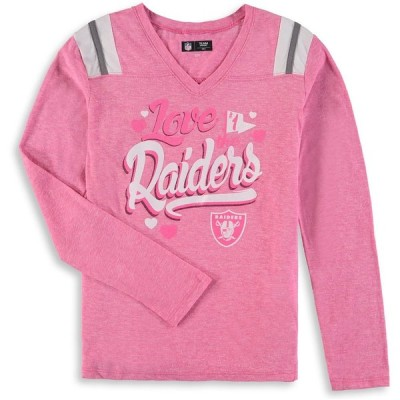 オークランド・レイダース New Era Girls Youth Love for My Team Long Sleeve Tri-Blend V-Neck T-シャツ - Pink
