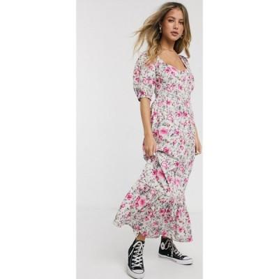 エイソス ASOS DESIGN レディース ワンピース Aライン ワンピース・ドレス tiered maxi dress with puff sleeves and open back in ditsy floral print