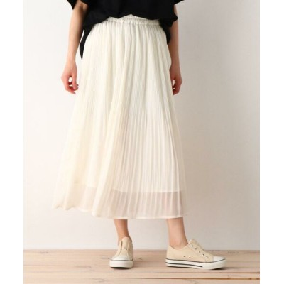 SHOO・LA・RUE/シューラルー シフォン楊柳プリーツスカート ホワイト(002) 00(FREE)