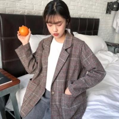 【送料無料】チェック柄 レディースジャケット 韓国ファッション テーラードジャケット アウター フォーマル 卒業式 卒園式 入学式 入園