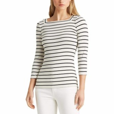 ラルフ ローレン LAUREN Ralph Lauren レディース Tシャツ トップス Striped Cotton Blend Top Mascarpone Cream/Polo Black