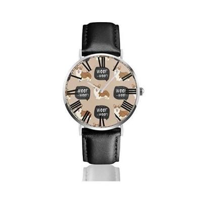 腕時計 ウェールズ・コーギー・ウーフ・ウーフ ウオッチ クラシック カジュアル 防水 クォーツムーブメント ?