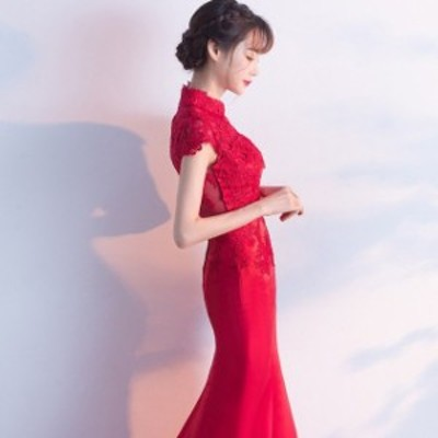チャイナドレス ワイン赤 マーメイドドレス ロング イブニングドレス 袖あり 二次会ドレス お呼ばれドレス 20代 30代 パーティードレス