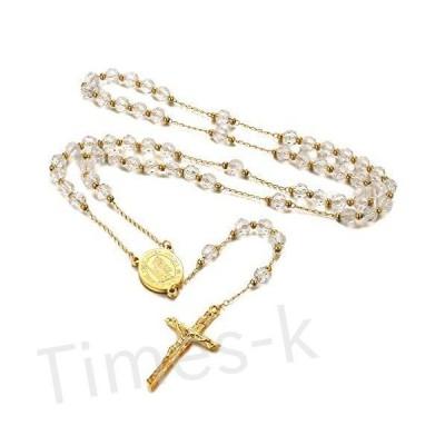 FaithHeart カトリックロザリオビーズネックレス 聖ミカエル/クリストファー/聖ベネディクトメダル 十字