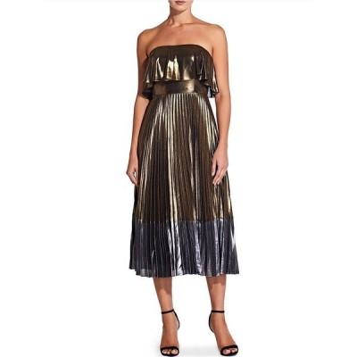 エイダン?エイダン?マトックス レディース ワンピース トップス Metallic Colorblock Pleated Strapless Popover Midi Dress Gold