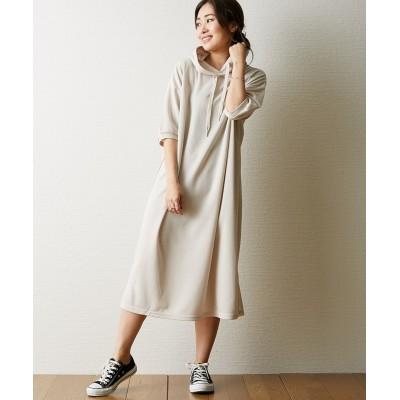 サイドスリットパーカーチュニックワンピース (ワンピース)Dress
