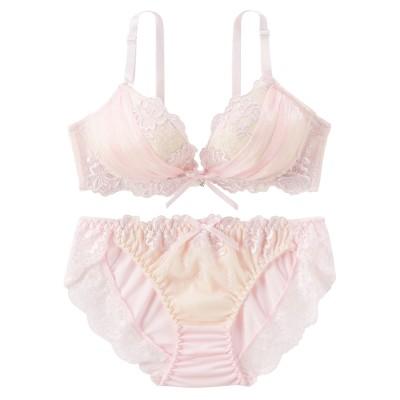ロマンティックシフォンギャザーノンワイヤーブラジャー。ショーツセット(L) (ブラジャー&ショーツセット)Bras & Panties