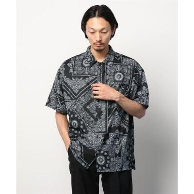 シャツ ブラウス 総柄プリント半袖シャツ