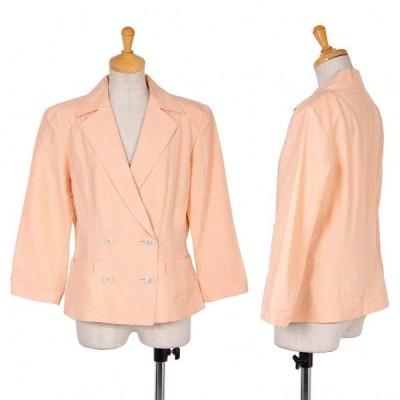 ヨシエイナバyoshie inaba シルクリネン紬ダブルブレストサマージャケット ピンク11 【レディース】