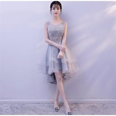 ショートドレス カラードレス ウェディングドレス 結婚式 パーティードレス 大きいサイズ ミニドレス ワンピース 披露宴 二次会 発表会 入学式[グレー]