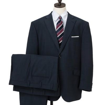 【SizeMAX】アスリートマックス 洗える 紺ピンチェック柄 2つボタン2パンツスーツ LES MUES
